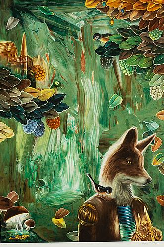 Ernst billgren, lithograph in colours, signed 9/225.