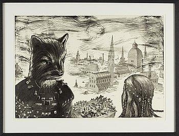 Ernst Billgren, etching, signed 9/225.