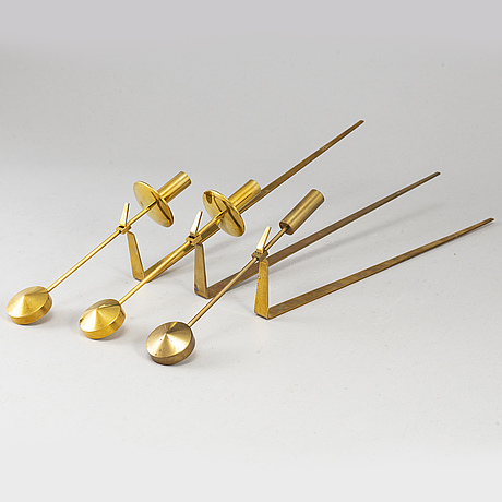 """Three(2+1) brass wall sconces by pierre forsell, """"pendeln"""", skultuna."""