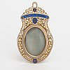 An 18k and 23 k pendant with enamel and miniature painting in qouache.  probably france, 19th century.