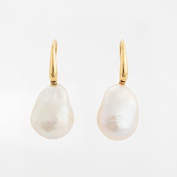 Cultured baroque freshwater pearl earrings.