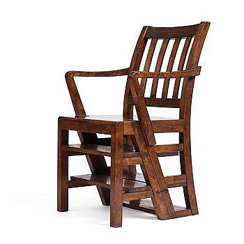 303. Axel Einar Hjorth, a stained birch library chair/-ladder, Nordiska Kompaniet, 1929, made to the crown prince Gustaf Adolf.