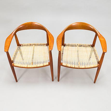 "Hans j wegner, six 1950s armchairs, ""the round chair"", johannes hansen, denmark."