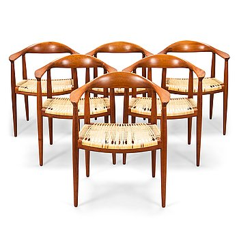 "Hans J Wegner, Six 1950s armchairs, ""The Round Chair"", Johannes Hansen, Denmark."