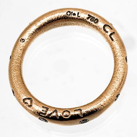 Ole lynggaard ring 18k gold,  9 brilliant-cut diamonds 0,18 ct in total tw vs.