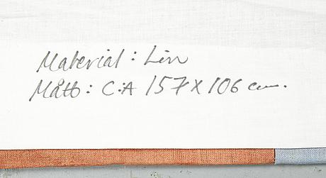 "Anita ullerstam, ""fragment"", wallhanging, ca 105 x 156 cm, dated 1991."