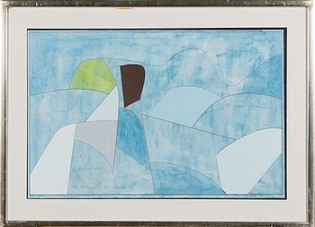Göran Augustson, gouache on paper, signed and dated -79.