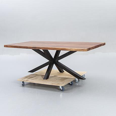 A modern wood table.