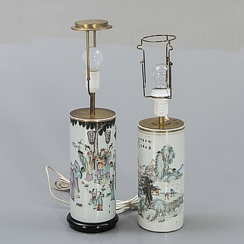 A set of two Chinese porcelain table lamps.