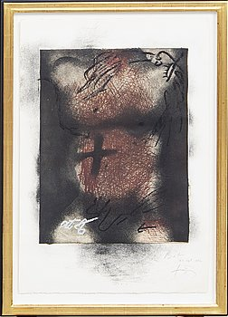 Antoni Tàpies, a signed and dated etching, Bon Atelier.