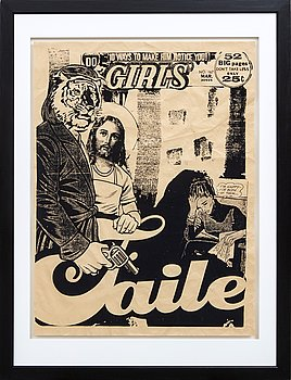 FAILE, screenprint on creased paper, signed and dated 2004.