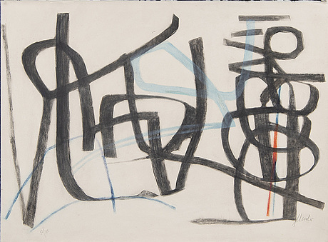 Fritz winter, a signed  and numbered colour lithograph.