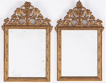 A pair of Danish mirrors, 18th Century.
