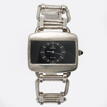 Omega wristwatch silver, manual, approx 42 x 30 mm, bracelet in silver length approx 20,5 cm.