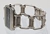 Omega wristwatch silver, manual, approx 42 x 30 mm, bracelet in silver length approx 20,5 cm.