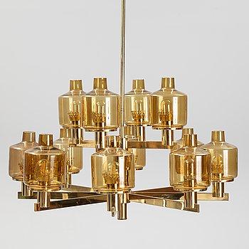 hans-Agne Jakobsson, a brass and glass chandelier,  T507/12, Markaryd, Sweden.