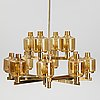 Hans-agne jakobsson, a brass and glass chandelier,  t507/12, markaryd, sweden.