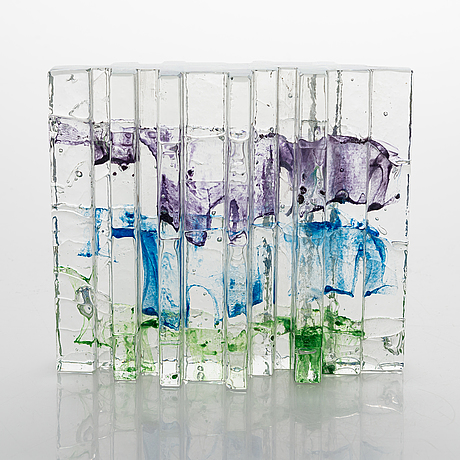"""Helena tynell, a glass sculpture """"forest"""". signed helena tynell riihimäen lasi oy."""
