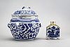 A chinese 18th/19th century porcelain tea caddie, urn and a plate.