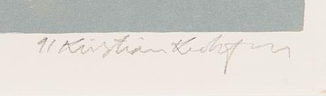 Kristian krokfors, litografi, signerad och daterad -91, numrerad 66/100.