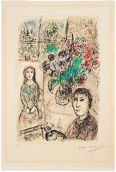"""754. Marc Chagall, """"Le Chevalet aux Fleurs""""."""