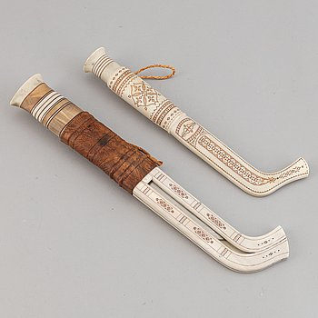 Two Sami reindeer horn knives, one signed TS for Tore Sunna, Kiruna and one signed BS.