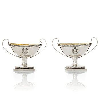 205. A pair of Swedish Gustavian parcel-gilt silver salt-cellars, mark of Johan Wilhelm Zimmerman, Stockholm 1791.