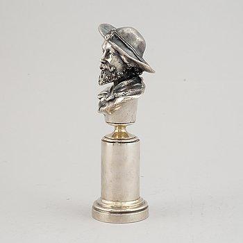 A Russian silver sculpture of Rubens, marked Grachev, St. Petersburg 1908-1917.
