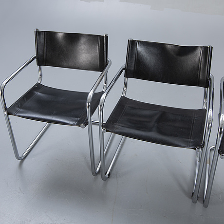A set of five italien leather armchairs later part of the 20th century.