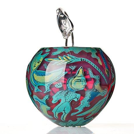 "Ulrica hydman-vallien, a unique ""kabale"" glass sculpture/ vase, kosta boda, sweden 1987."