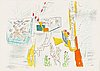 Roberto matta, suite with 5 color lithographs, 1976-77, all signed in pencil 27/100, printed by mourlot, paris.