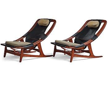 """402. Arne Tideman Ruud, a pair of teak lounge chairs """"Holmenkollen/3030"""", A/S Inventar Gjövik, Norway 1960's."""