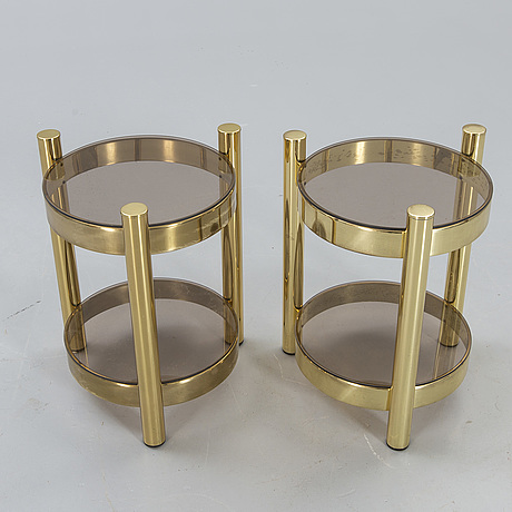 A pair of brass 1970/80s side tables.