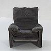 "Vico magistretti, armchair ""maralunga"", cassina late 20th century."