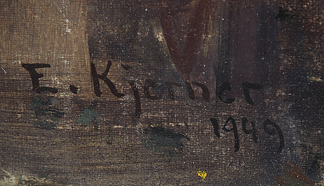 Esther kjerner, oil on canvas, signed and dated 1949.