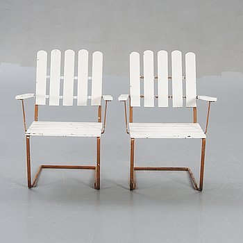 Grythyttan, 2 Armchairs, metal, wood.