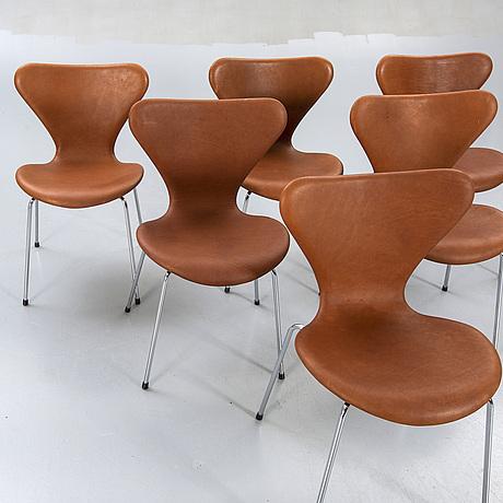 "Arne jacobsen chairs, 6 pcs, ""sjuan"", fritz hansen, denmark later part of the 20th century."