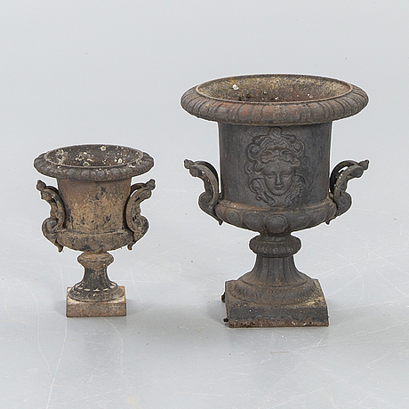 Garden urns, 2 pcs, first half of the 20th century, cast iron.