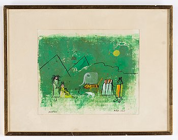 Madeleine Pyk, gouache, signed and dated 1967.