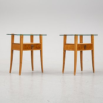 A pair of birch tree bed side tables from Bodafors, mid 20th century.
