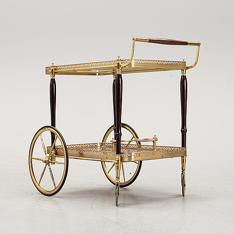 A drink trolley in brass, glass and wood. second half of 20th century.