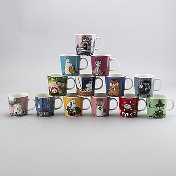 A set of 13 Moomin mugs Arabia 1996-.