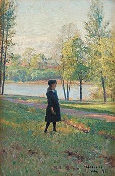 """601. Herman Lindqvist, """"Motiv från Djurgården""""."""