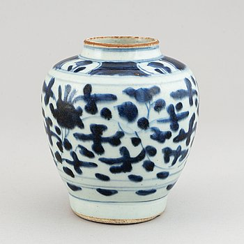 A blue and white jar, Transition, 17th Century.l.