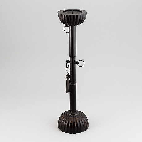 A bronze candle holder, japan, 20th century.