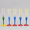 """Anne nilsson,  a set of10 glasses and decanter, """"clown"""", orrefors."""