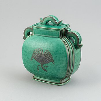 Wilhelm Kåge, WILHELM KÅGE, a stoneware 'Argenta' jar with lid, Gustavsberg 1943.