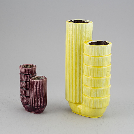 Gunnar nylund, a set of two double vases, stoneware, rörstrand, sweden.