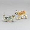 Lisa larson, two stoneware figurines, for nordiska kompaniet, stockholm. in collaboration with gustavsberg and wwf.
