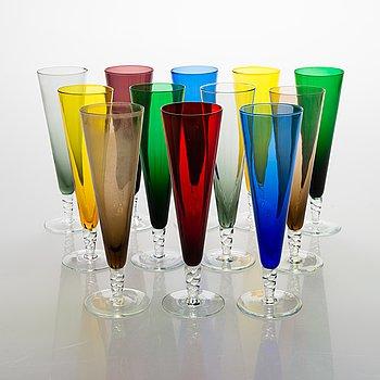 Champagne glasses, 12 pcs, different colors.